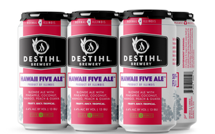 An image of DESTIHL Brewery's Hawaii Five Ale™ cans in a retail 6-pack.