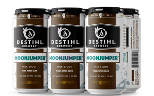 An image of DESTIHL Brewery's Moonjumper® Milk Stout cans in a retail 6-pack.