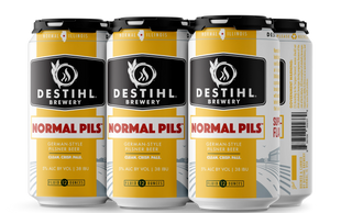 An image of DESTIHL Brewery's Normal Pils™ cans in a retail 6-pack.
