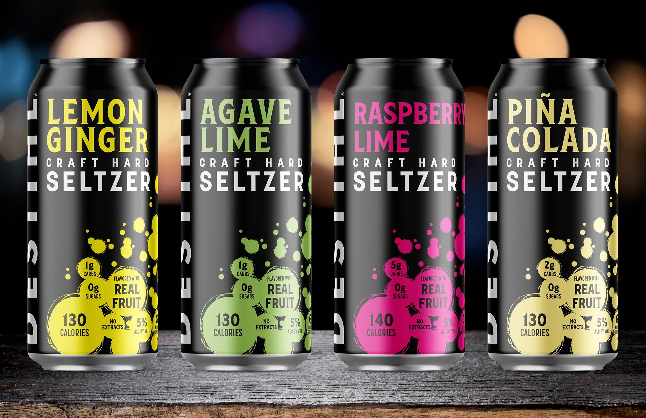 An image of DESTIHL Brewery's Craft Hard Seltzer cans.