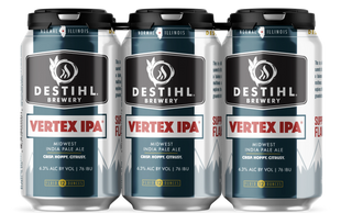 An image of DESTIHL Brewery's Vertex IPA® cans in a retail 6-pack.