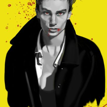 A black and  white digital drawing of a male model with glowing red eyes and blood splatter on a yellow background.