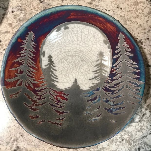 Fir Tree and Moon scene Raku Pottery Plate
