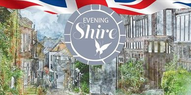 Evening Shire butterfly logo and English village