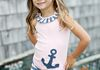 Navy Anchor Tank with Orion Blue/Pink Bike Shorts