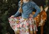 Garland Tee-Blue Stone with Owl Print Twirl Skirt