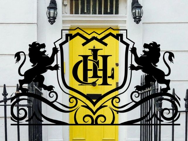 Competitive Home Lending Logo with Lions & a Shield, overlayed on an image of a vibrant yellow door.