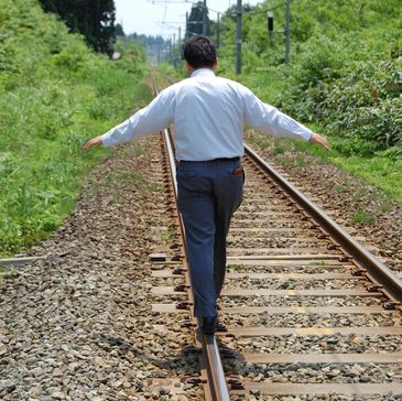 Man walking on a track