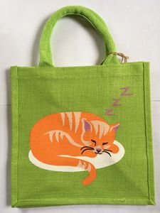 Bag, Cat Sleeping, Square Jute