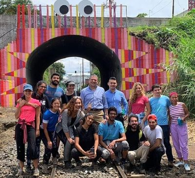 FUNdaMENTAL Interns with local San Jose officials in front of the new train tunnel mural