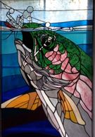"42""x 24"" Stained Glass Rainbow Trout, Gorgeous Colors! price $$2,995.00"