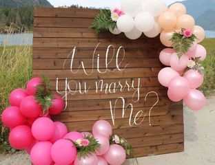 Wooden Backdrop Marriage Proposal  Helium balloon party supplies party event vancouver surrey british columbia