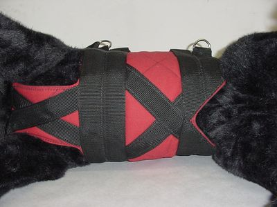 X-Belly straps and an abdominal cut-out are features of both Support Suits and Get-a-Grip Harnesses.
