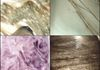 Close-Up Textures of Pyritized Ammonite, Rutilated Quartz, Charoite, Silver Obsidian