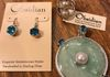 Blue Topaz Earrings, Pearl Ring, Pendant with Aventurine, Pearl and Blue Topaz