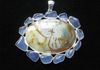 Large Statement Pendant with Picture Jasper and Blue Chalcedony