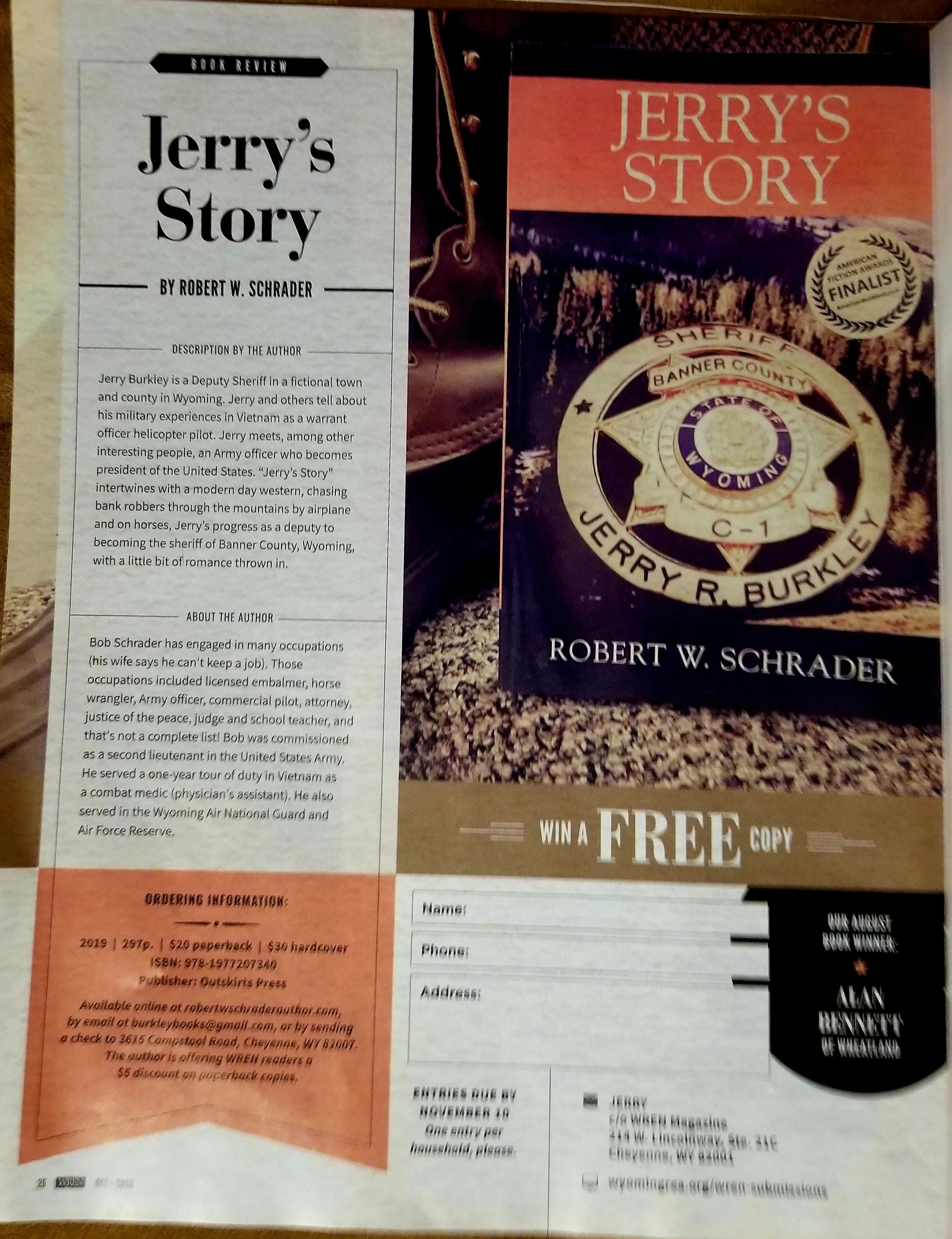 Special Offer for WREN  Readers .  JERRY'S STORY $20.00, Autographed and mailed.