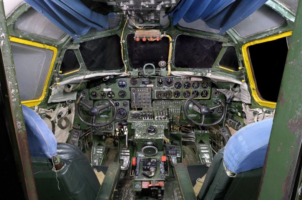 The cockpit of a Consolidated Liberator B24L
