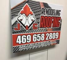 roofing yard sign with H stake
