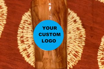 add your spray foam company logo to the custom cup, custom mug, or tumbler this example is woodgrain