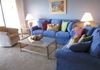 Comfy  livingroom sofa, loveseat, and swivel chair  in tropical colors!