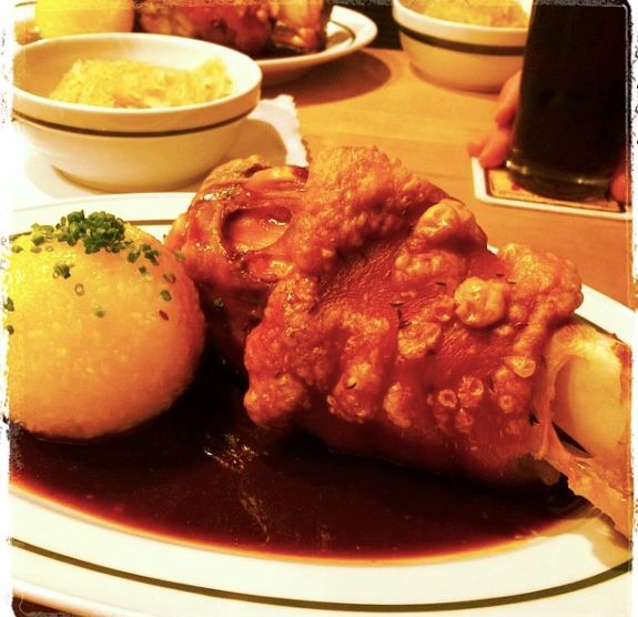 Schlenkerla's schweinhaxn with potato dumpling, gravy and rauchbier.