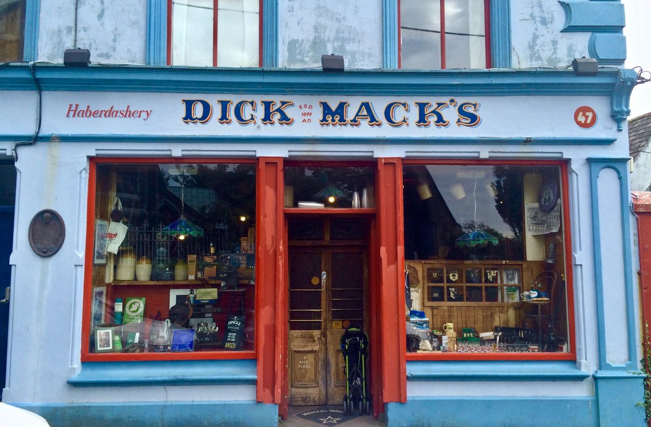 Facade of Dick Mack's pub in Dingle, Ireland
