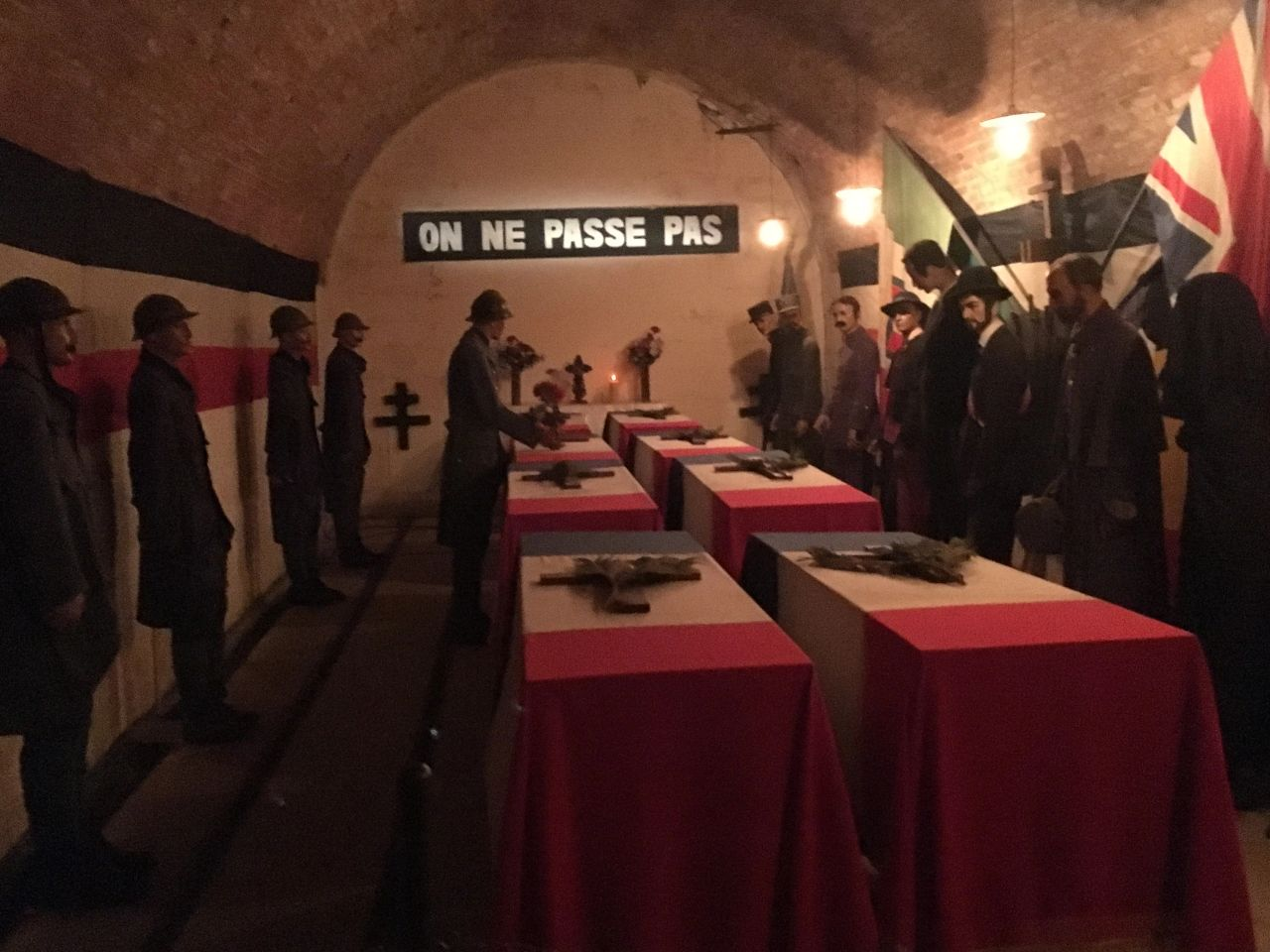 """None shall pass."" One of the displays inside the Citadel of Verdun, showing a French memorial ceremony after the Battle of Verdun."