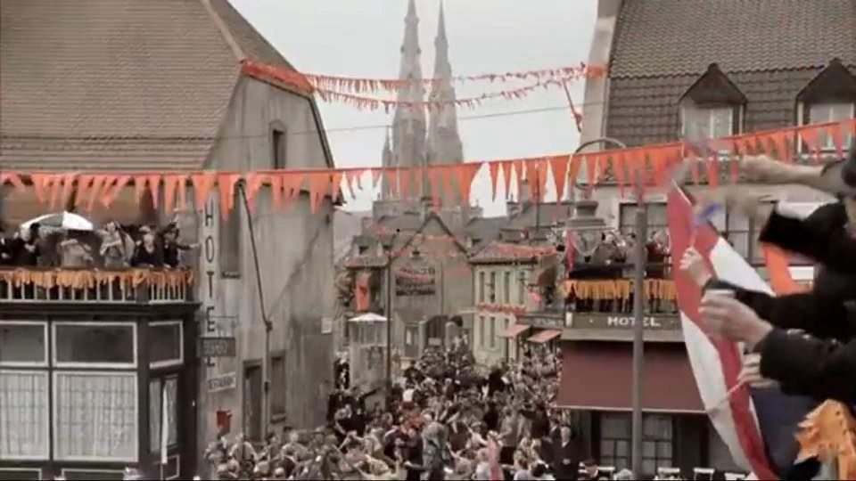Downtown Eindhoven in September 1944, as portrayed in Band of Brothers.