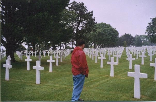 The Normandy American Cemetery overlooking Omaha Beach.