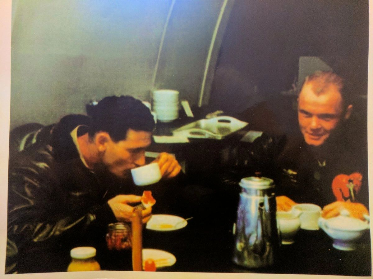 Legendary Marine Corps fighter pilots Ted Williams, left, and John Glenn served together in Korea.