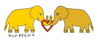Lucky the Golden Elephant and Lily the Bronze Elephant by Eliot Raffit Painting Love