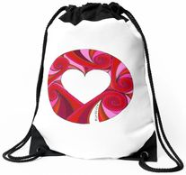Eliot Raffit Art to Wear Fashion Accessories Loving Heart Drawstring Backpack