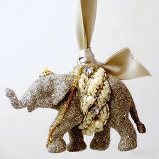 Eliot Raffit Christmas Ornament Elephant with Jewels and Italian Satin bow for hanging