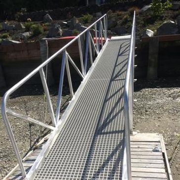 Aluminum gangways and docks No rust or rot. Slip proof fibergias