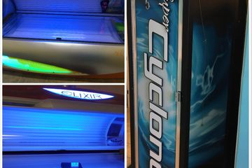 We offer (2) 12 minute air-cooled tanning beds and (2) 8 minute stand-up booths.