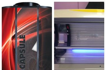 Vitesse by Sun Capsule tanning booth, Sungate tanning bed.