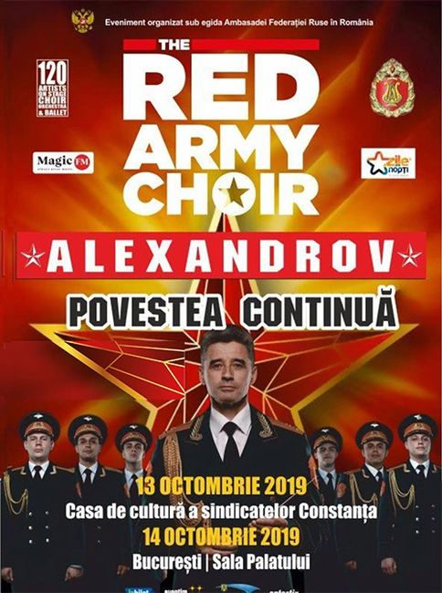 Red Army Choir Alexandrov  poster for upcoming concerts in Romania