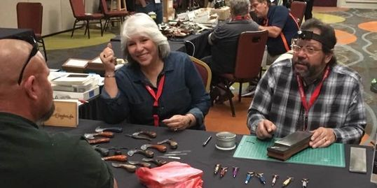 Paul & Rosa enjoy visiting and talking all things leather craft knives and tools.