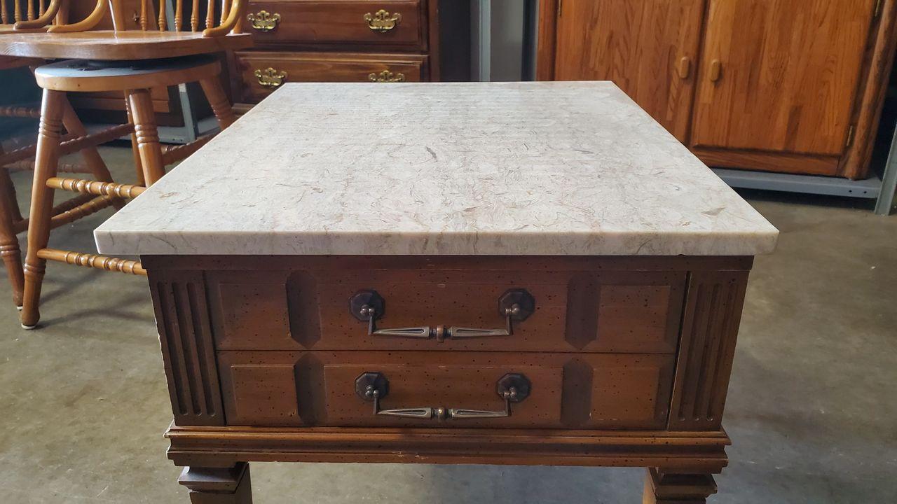 Granite Top End Table