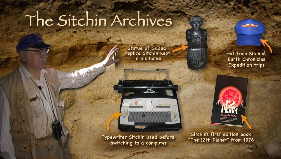 Zecharia Sitchin Archives - statue of Gudea - Earth Chronicles Hat, Typewriter, First book,