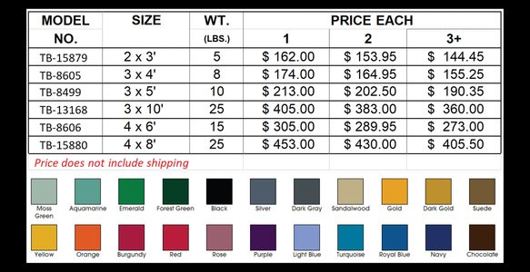 TrafficBuilders - Floor mat color chart and pricing