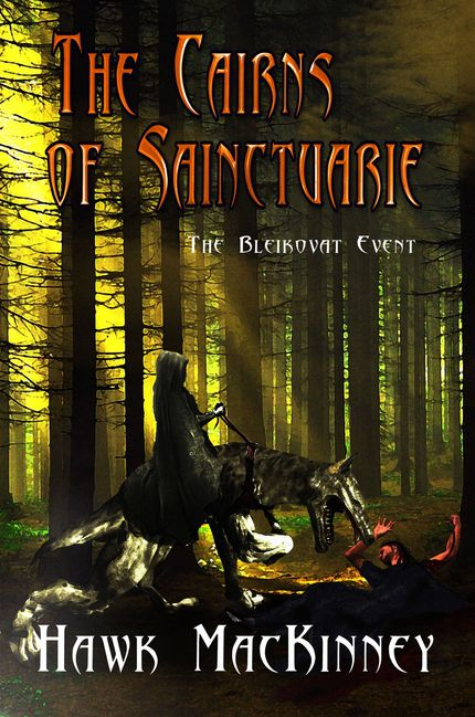 The Cairns of Sainctuarie, Hawk Mackinney, First in a series of books about a world that finds itself at war and is Visited by a kindred race to bring them into the fold of worlds like them. They are given new technology and life changes for them. Sage Words publishing.