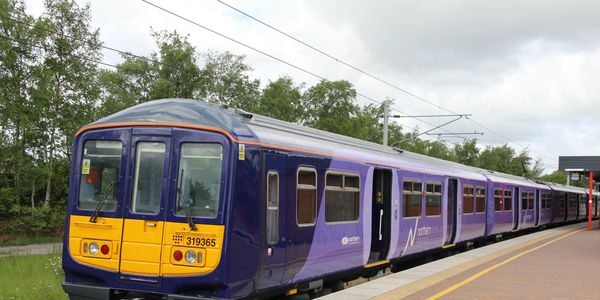 "Former Thameslink train at Wigan on a Liverpool service, in the former ""Northern Electric"" livery"