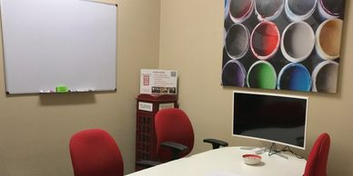 Hourly/Daily Leander Meeting Space for 1-5 with Whiteboards, HD monitor, High-speed Internet.