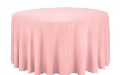 pink round tablecloth