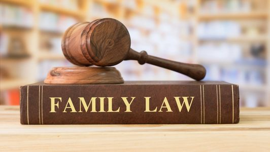 Picture of a gavel set atop a book about Family Law.