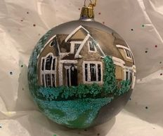 Custom hand painted house portrait, Christmas decorations