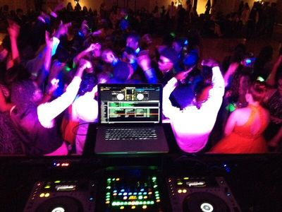 Dance Floor and DJ Setup at High School Dance
