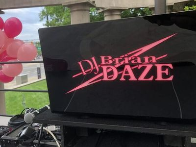 DJ Brian Daze Pink Logo And Balloons for Komen's Race For The Cure